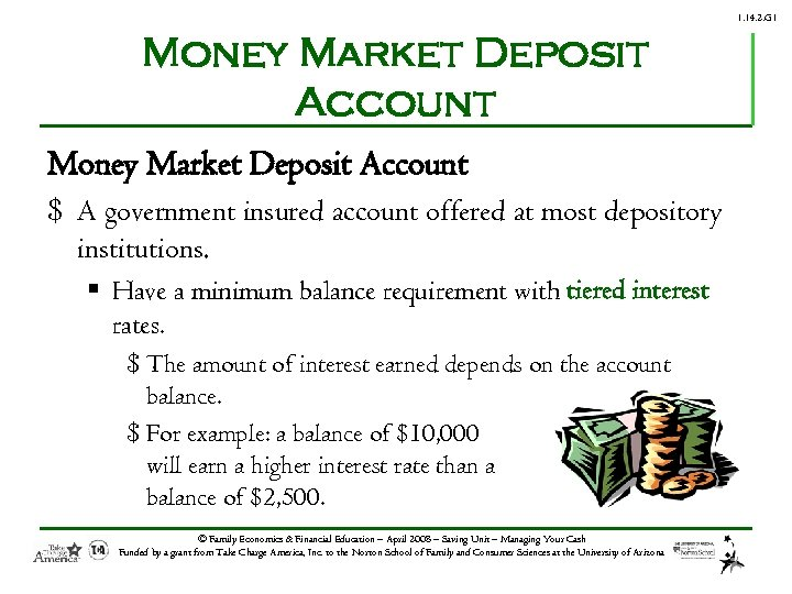 1. 14. 2. G 1 Money Market Deposit Account $ A government insured account