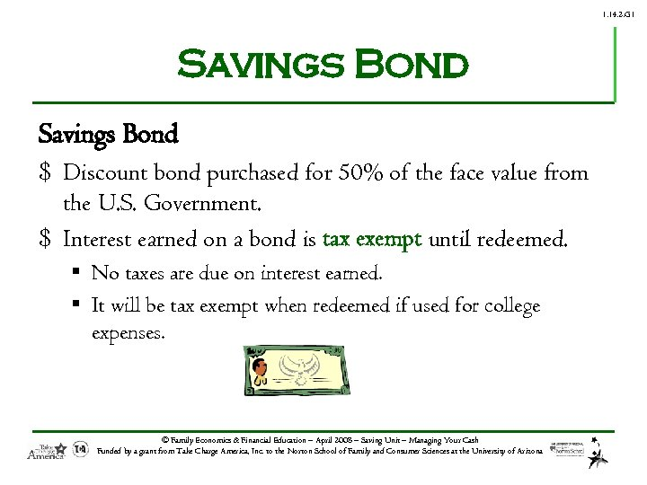 1. 14. 2. G 1 Savings Bond $ Discount bond purchased for 50% of