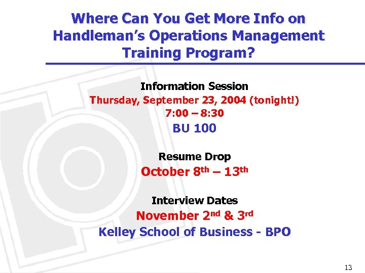 Where Can You Get More Info on Handleman's Operations Management Training Program? Information Session