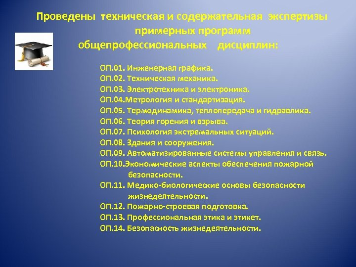 Проведены техническая и содержательная экспертизы примерных программ общепрофессиональных дисциплин: ОП. 01. Инженерная графика. ОП.