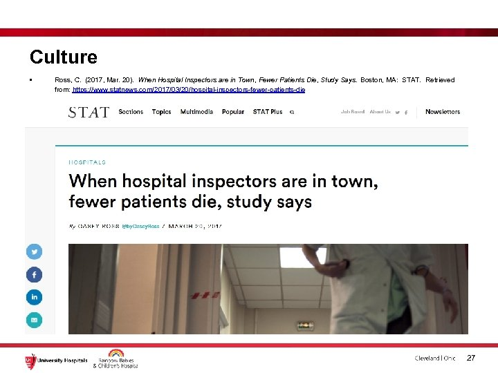 Culture • Ross, C. (2017, Mar. 20). When Hospital Inspectors are in Town, Fewer