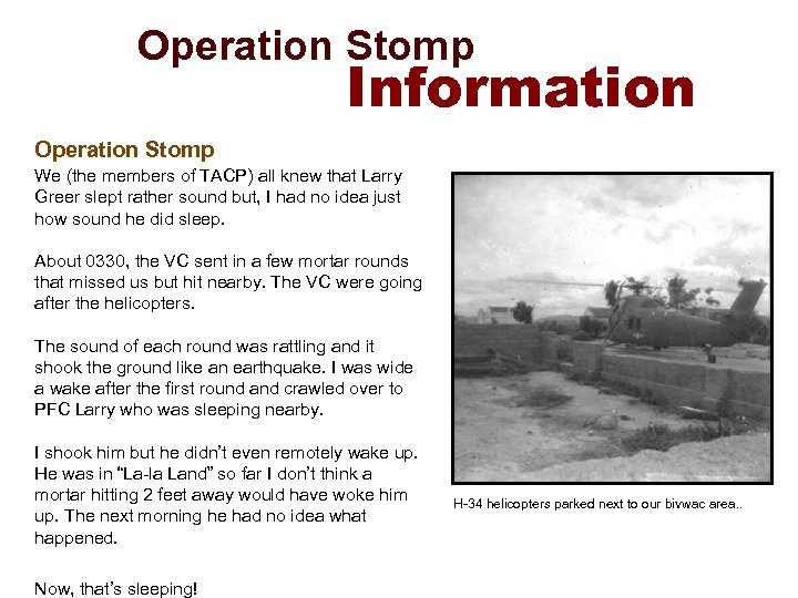 Operation Stomp Information Operation Stomp We (the members of TACP) all knew that