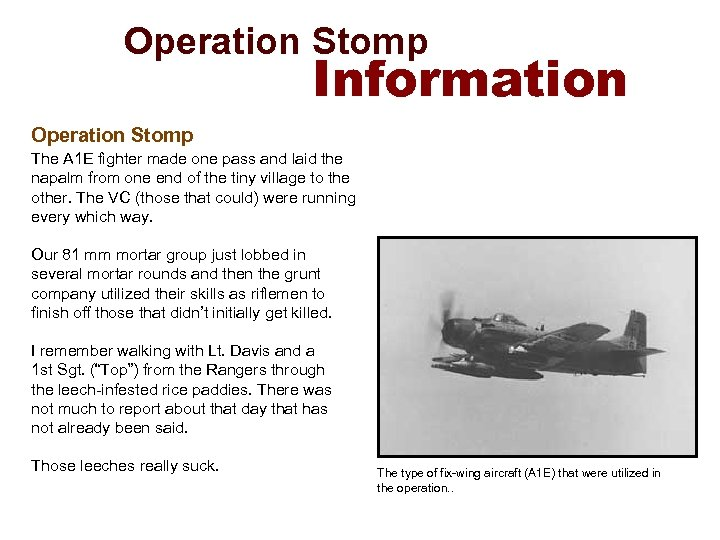 Operation Stomp Information Operation Stomp The A 1 E fighter made one pass