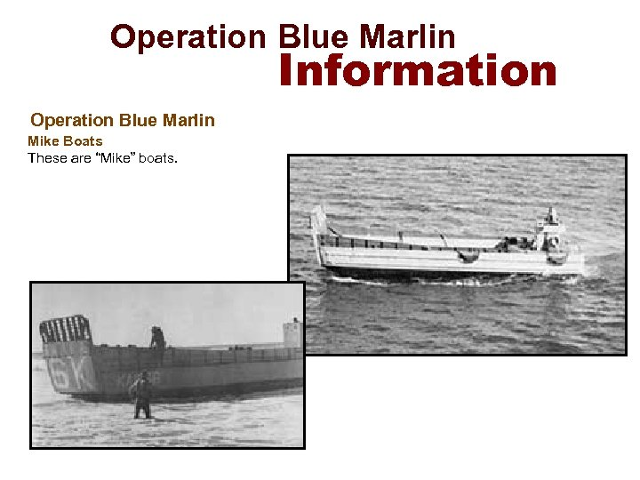 "Operation Blue Marlin Information Operation Blue Marlin Mike Boats These are ""Mike"" boats."