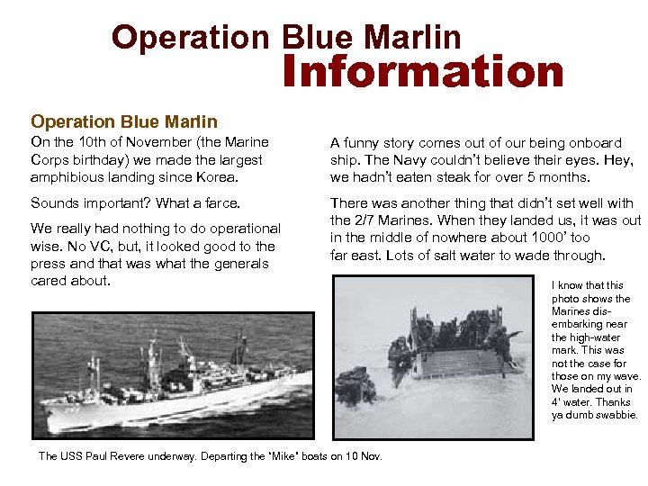 Operation Blue Marlin Information Operation Blue Marlin On the 10 th of November