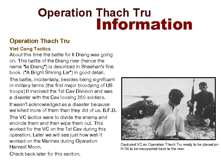 Operation Thach Tru Information Operation Thach Tru Viet Cong Tactics About this time