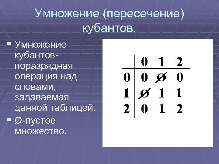 Умножение (пересечение) кубантов. § Умножение кубантовпоразрядная операция над словами, задаваемая данной таблицей. § Ø-пустое