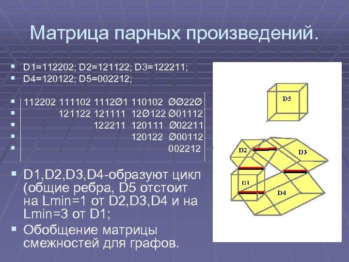 Матрица парных произведений. § D 1=112202; D 2=121122; D 3=122211; § D 4=120122; D