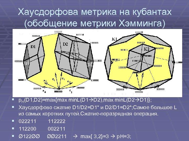 Хаусдорфова метрика на кубантах (обобщение метрики Хэмминга) § р. Н(D 1, D 2)=max{max min.