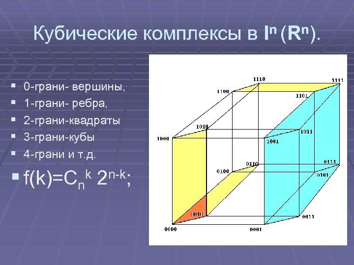 Кубические комплексы в In (Rn). § § § 0 -грани- вершины, 1 -грани- ребра,