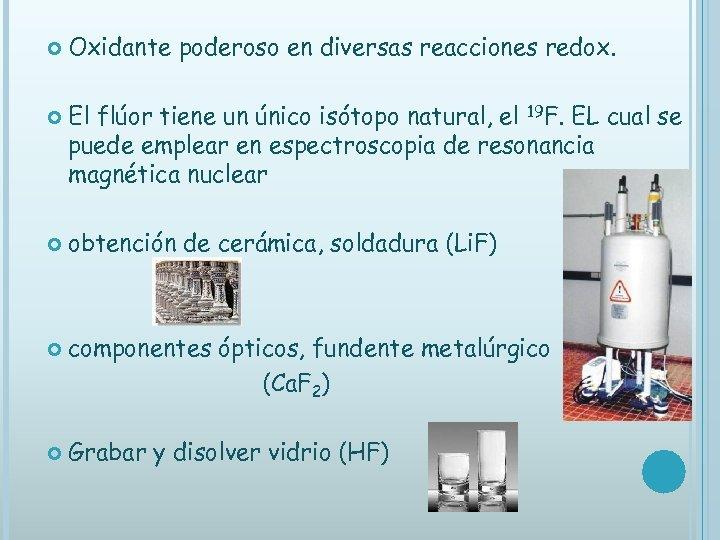 Oxidante poderoso en diversas reacciones redox. El flúor tiene un único isótopo natural,