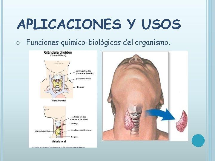 APLICACIONES Y USOS o Funciones químico-biológicas del organismo.