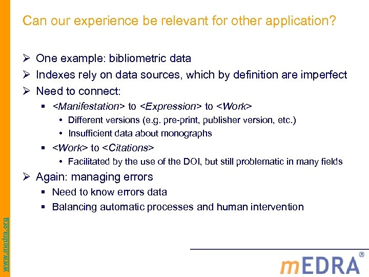 Can our experience be relevant for other application? Ø One example: bibliometric data Ø