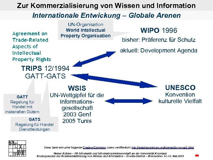 Zur Kommerzialisierung von Wissen und Information Internationale Entwickung – Globale Arenen UN Organisation World
