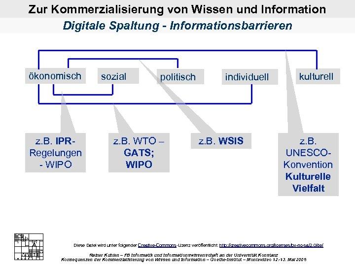 Zur Kommerzialisierung von Wissen und Information Digitale Spaltung - Informationsbarrieren ökonomisch z. B. IPR