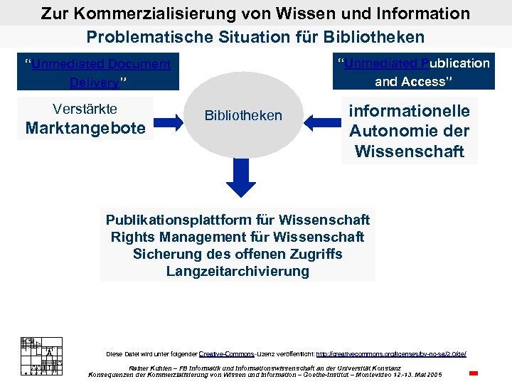 """Zur Kommerzialisierung von Wissen und Information Problematische Situation für Bibliotheken """"Unmediated Publication and Access"""""""
