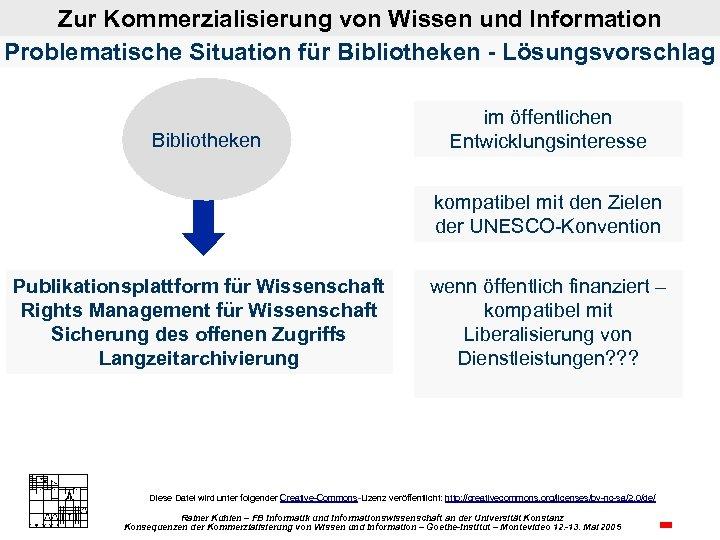 Zur Kommerzialisierung von Wissen und Information Problematische Situation für Bibliotheken - Lösungsvorschlag Bibliotheken im