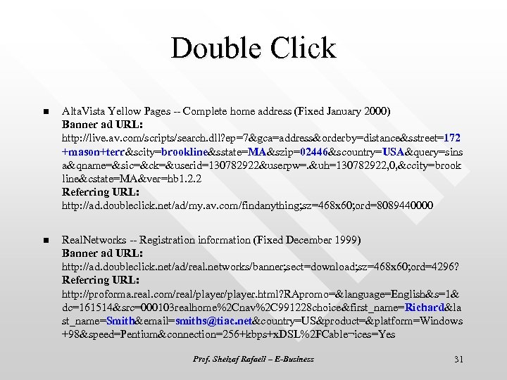 Double Click n Alta. Vista Yellow Pages -- Complete home address (Fixed January 2000)