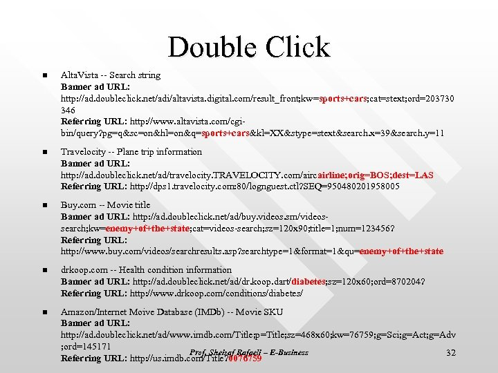 Double Click n Alta. Vista -- Search string Banner ad URL: http: //ad. doubleclick.
