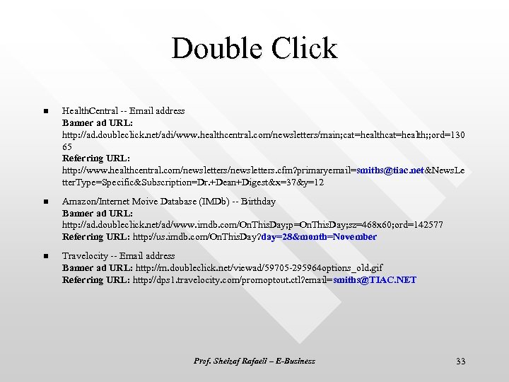 Double Click n Health. Central -- Email address Banner ad URL: http: //ad. doubleclick.