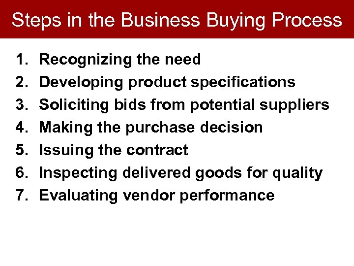 Steps in the Business Buying Process 1. 2. 3. 4. 5. 6. 7. Recognizing