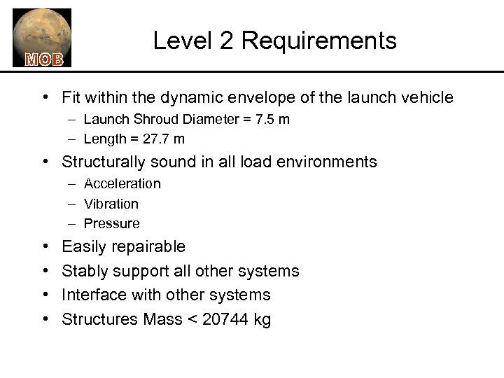 Level 2 Requirements • Fit within the dynamic envelope of the launch vehicle –