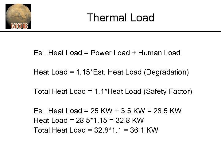 Thermal Load Est. Heat Load = Power Load + Human Load Heat Load =