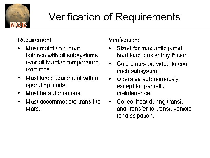 Verification of Requirements Requirement: • Must maintain a heat balance with all subsystems over
