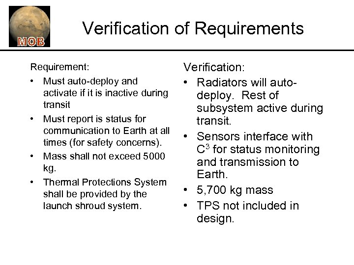 Verification of Requirements Requirement: • Must auto-deploy and activate if it is inactive during