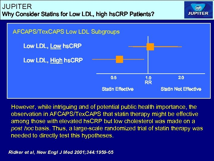 JUPITER Why Consider Statins for Low LDL, high hs. CRP Patients? AFCAPS/Tex. CAPS Low