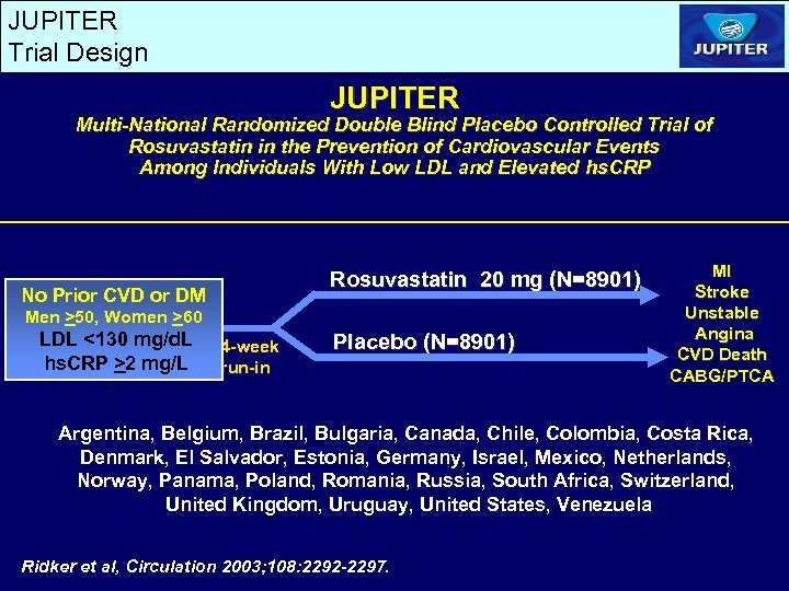 JUPITER Trial Design JUPITER Multi-National Randomized Double Blind Placebo Controlled Trial of Rosuvastatin in