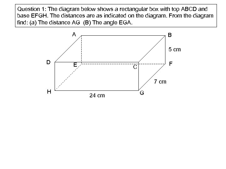 Question 1: The diagram below shows a rectangular box with top ABCD and base