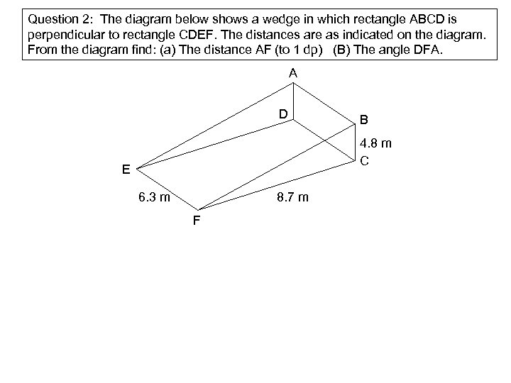 Question 2: The diagram below shows a wedge in which rectangle ABCD is perpendicular