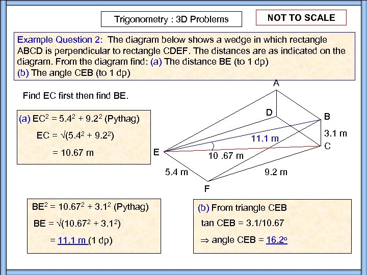 Trigonometry : 3 D Problems NOT TO SCALE Example Question 2: The diagram below