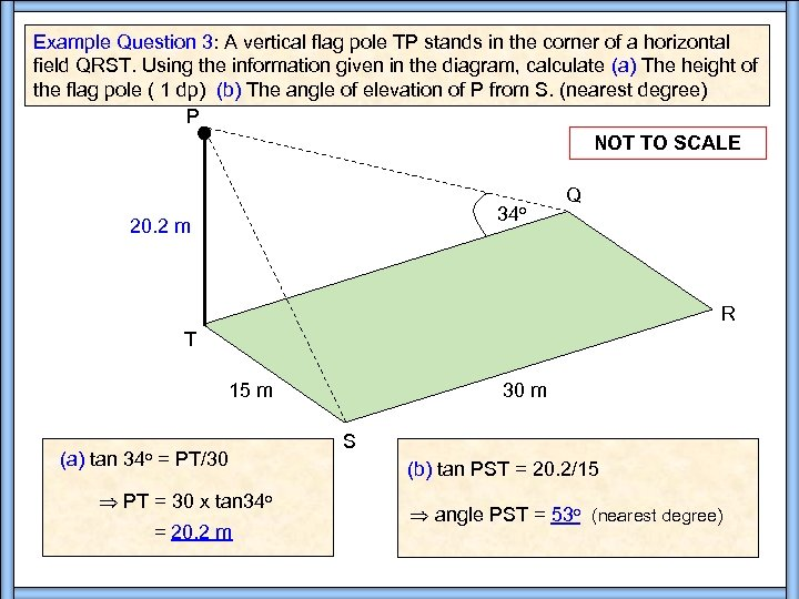 Example Question 3: A vertical flag pole TP stands in the corner of a