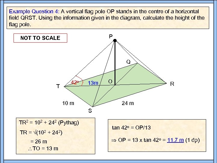 Example Question 4: A vertical flag pole OP stands in the centre of a