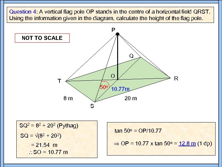 Question 4: A vertical flag pole OP stands in the centre of a horizontal