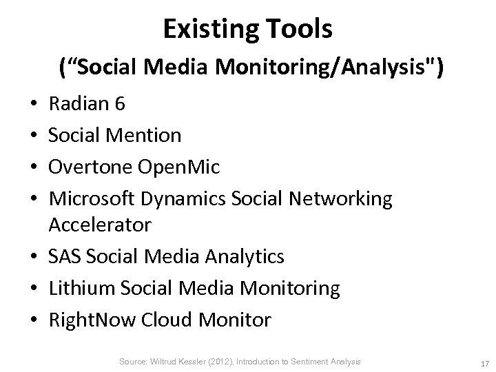 """Existing Tools (""""Social Media Monitoring/Analysis"""