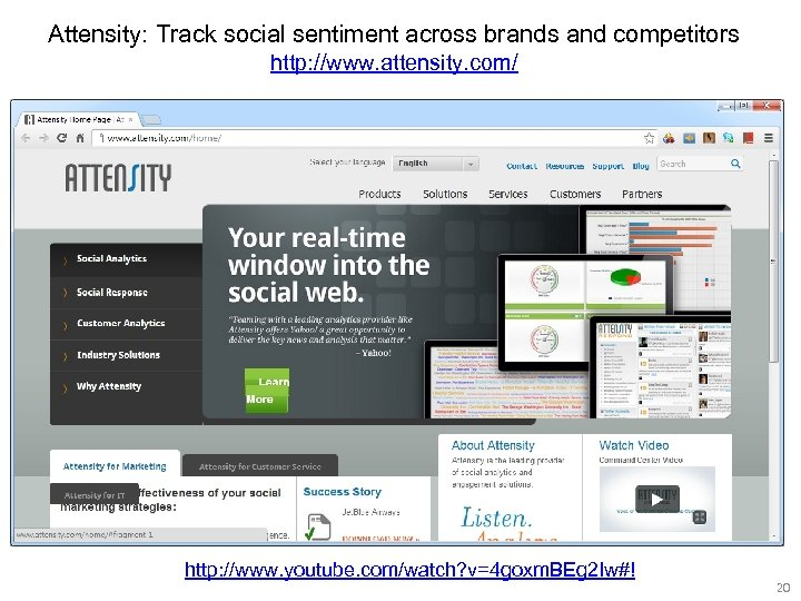 Attensity: Track social sentiment across brands and competitors http: //www. attensity. com/ http: //www.
