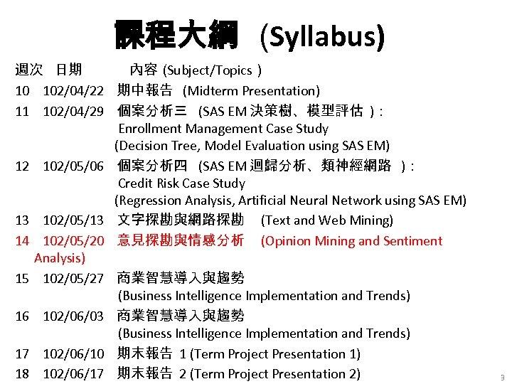 課程大綱 (Syllabus) 週次 日期 內容( Subject/Topics) 10 102/04/22 期中報告 (Midterm Presentation) 11 102/04/29 個案分析三
