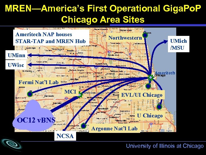 MREN—America's First Operational Giga. Po. P Chicago Area Sites Ameritech NAP houses STAR-TAP and