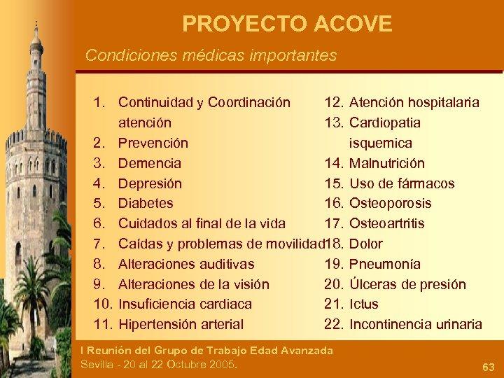 PROYECTO ACOVE Condiciones médicas importantes 1. Continuidad y Coordinación 12. atención 13. 2. Prevención
