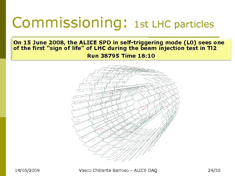 Commissioning: 1 st LHC particles On 15 June 2008, the ALICE SPD in self-triggering