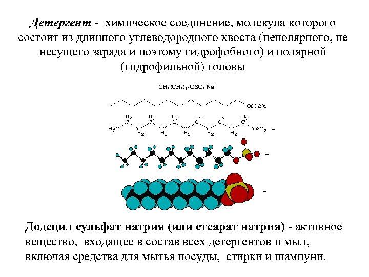 Детергент - химическое соединение, молекула которого состоит из длинного углеводородного хвоста (неполярного, не несущего