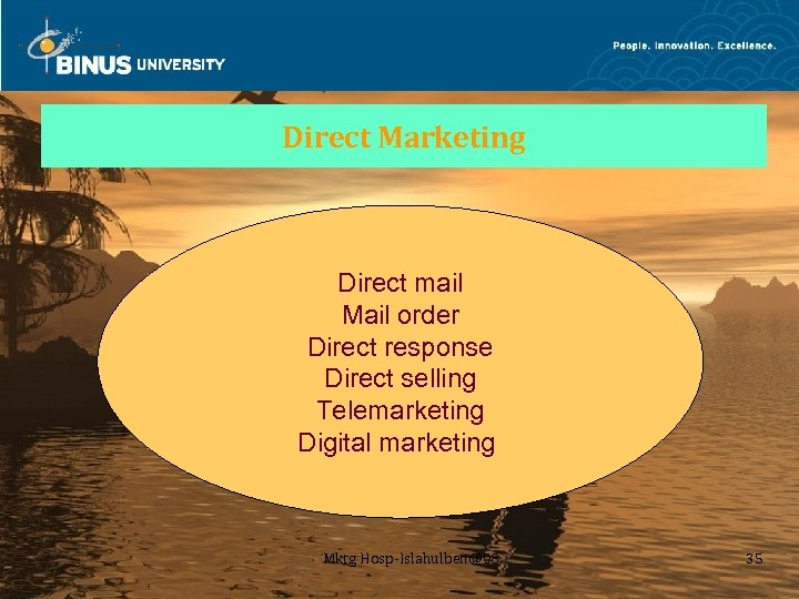 Direct Marketing Direct mail Mail order Direct response Direct selling Telemarketing Digital marketing Mktg