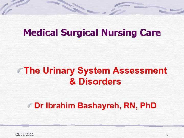 Medical Surgical Nursing Care The Urinary System Assessment & Disorders Dr Ibrahim Bashayreh, RN,