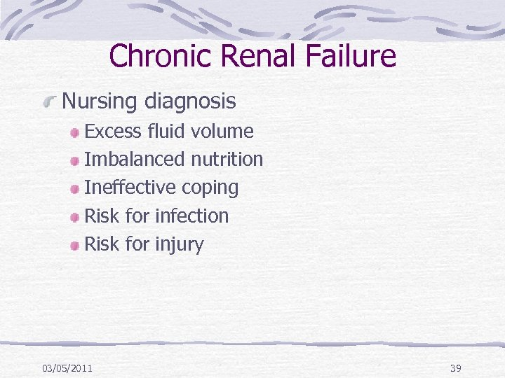 Chronic Renal Failure Nursing diagnosis Excess fluid volume Imbalanced nutrition Ineffective coping Risk for
