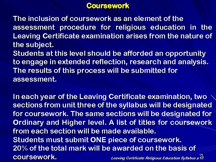 lcre coursework titles 2015
