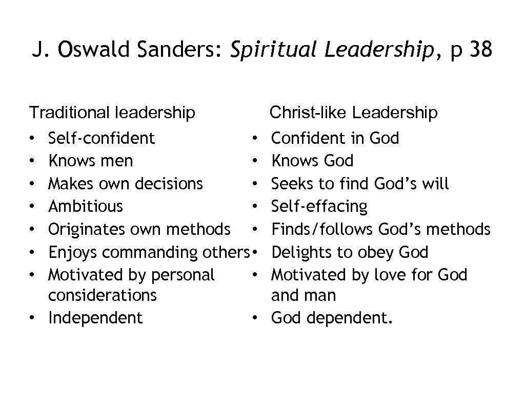 J. Oswald Sanders: Spiritual Leadership, p 38 Traditional leadership • Self-confident • • Knows