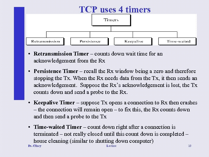 TCP uses 4 timers • Retransmission Timer – counts down wait time for an